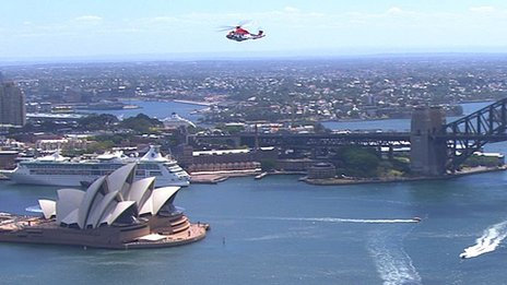 Helicopter above Sydney Opera House