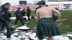 Half-naked Scots clear Serb pitch