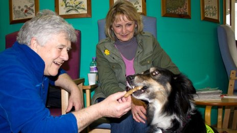 Charlie with patients at the centre