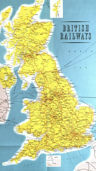 Map of Britain's railways in 1963