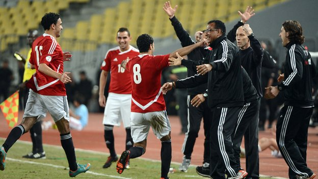 Egypt celebrate scoring against Zimbabwe