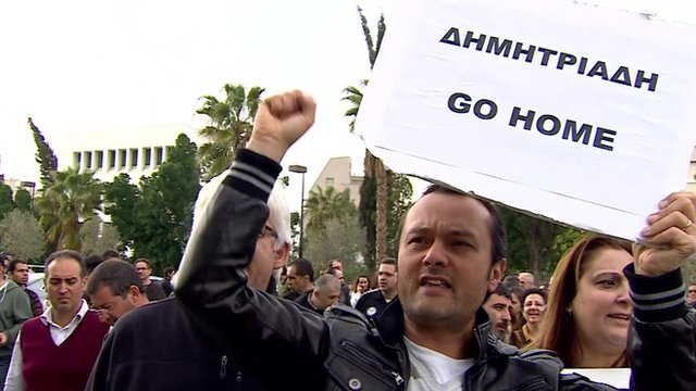 Protesters outside Bank of Cyprus