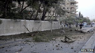 Scene of suspected car bomb, Damascus. 26 March 2013