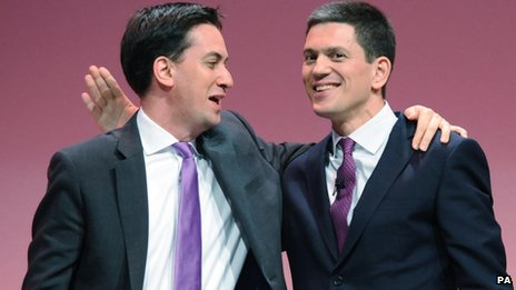 Labour Party leader Ed Miliband (left) with his brother David