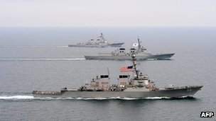 One South Korean and two US navy ships move into formation off the Korean Peninsula during exercise Foal Eagle 2013 in 17 March 2013 image released by the US military