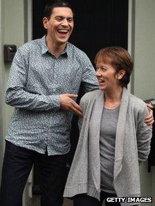 David Miliband with wife Louise Shackelton