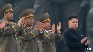 File photo: North Korean leader Kim Jong-un (right)