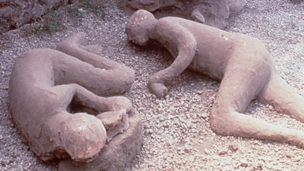 Casts of people in Pompeii who fell victim to the 79 AD Mount Vesuvius eruption