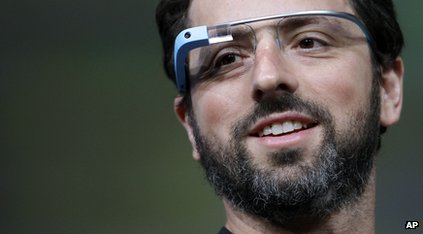 Sergey Brin models Google Glass