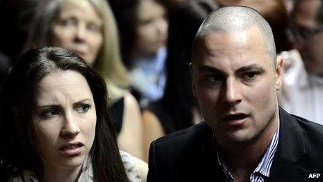 Carl Pistorius and sister Aimee in court at Oscar Pistorius's bail hearing