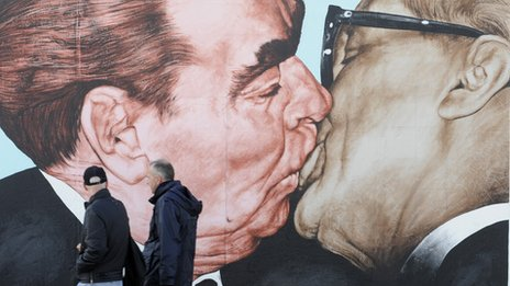 Mural of kiss between Soviet leader Leonid Brezhnev (L) and East German leader Erich Honecker