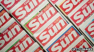 Copies of the Sun newspaper