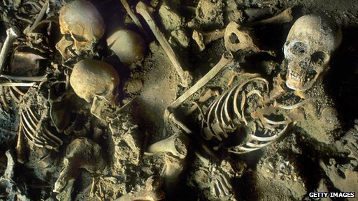 Skeletons of the victims of the 79 AD Mount Vesuvius eruption