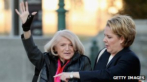 Edith Windsor arrives at the Supreme Court to hear her case against Doma in Washington DC 27 March 2013