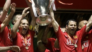 Manchester United celebrate 2008 Champions League
