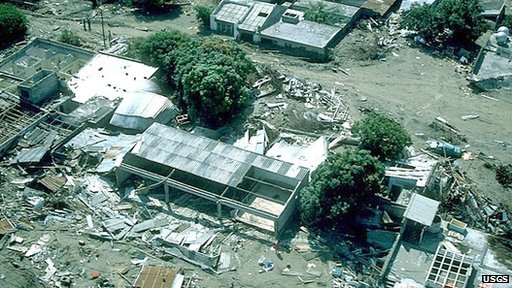 The only standing buildings left in the town of Armero in Tolima Department, Colombia, after the 1985 eruption
