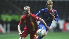 Wales' Jonathan Williams gets away from Croatia's Ivan Strinic