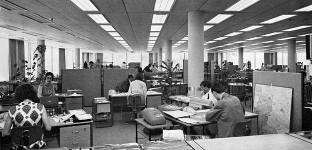 The pleasures and perils of the open plan office bbc news for 70s office design