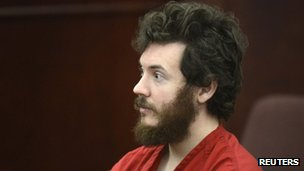 Accused Aurora theatre shooting suspect James Holmes listens at his arraignment in Centennial, Colorado 12 March 2012