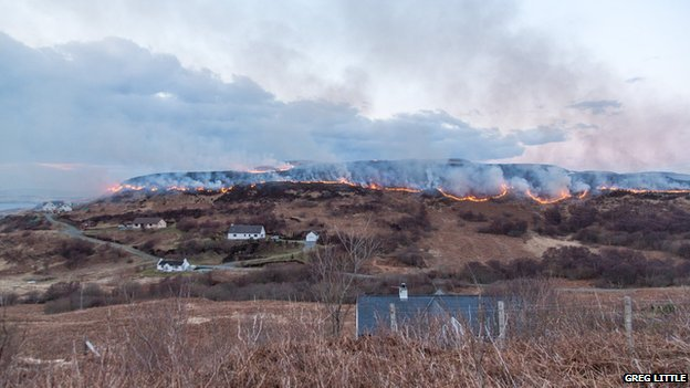 Wildfire near Fiskavaig, Isle of Skye