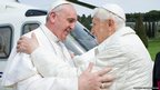 Pope Francis meet his predecessor Pope Emeritus Benedict