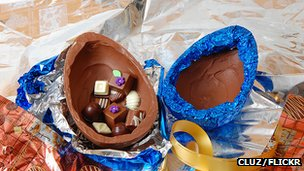 A chocolate Easter egg filled with smaller chocolates