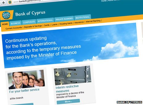 Bank of Cyprus website front page