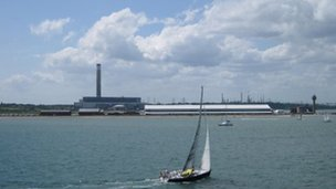 Fawley Power Station seen from Southampton Water