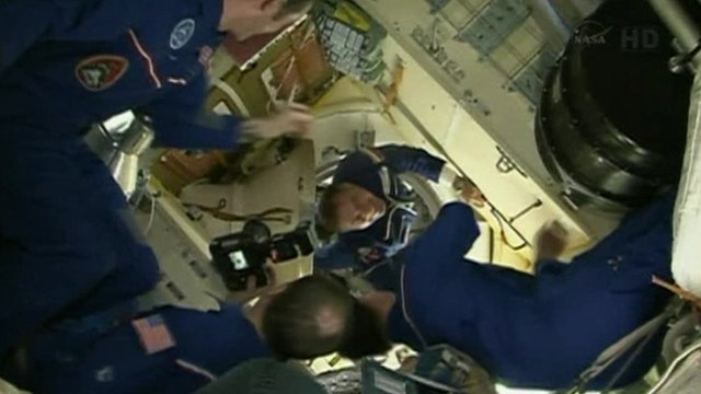 Soyuz crew enters the International Space Station