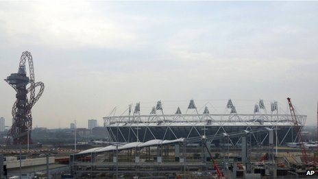 A view of building work taking place at the Olympic Stadium on 22 March 2013