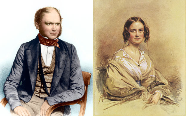 Portraits showing Charles Darwin and his wife Emma