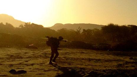 Soldier at sunrise
