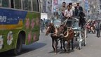 Horse and carriage in a Dhaka street.