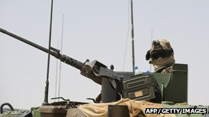 A French soldier mans a machine gun in Mali