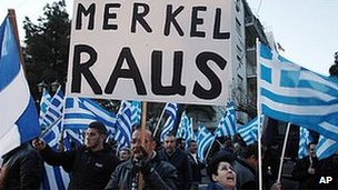 Greek nationalists hold anti-Merkel protest in Athens, 22 Mar 13