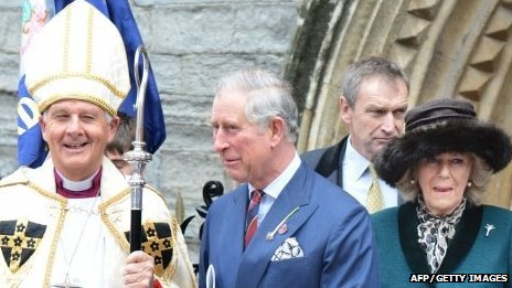 Archbishop of Wales, Dr Barry Morgan, with Prince Charles and the Duchess of Cornwall
