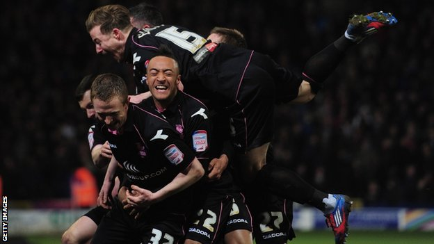 Shane Ferguson and Birmingham team-mates celebrate