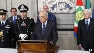 President Giorgio Napolitano addressing the media