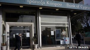 A man walks near a Bank of Cyprus branch in Nicosia. Photo: 28 March 2013