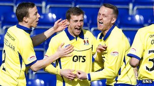 Kilmarnock celebrate an early goal from James Fowler