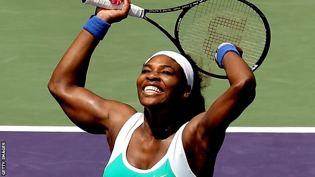 Serena Williams celebrates victory in Miami
