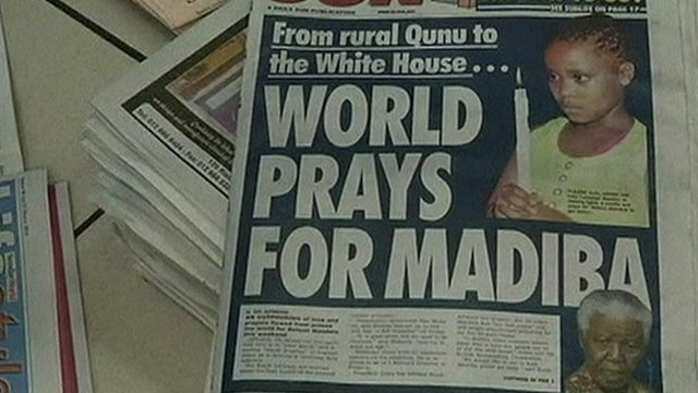 Newspaper front page 'World prays for Madiba'