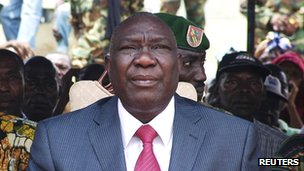 Seleka rebel leader Michel Djotodia attending a rally by supporters in Bangui on 30 March following his seizure of power