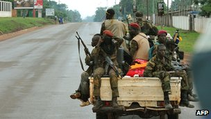 Seleka rebels patrol Bangui on 25 March 2013, a day after ousting President Francois Bozize