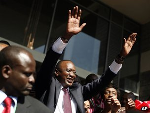 Uhuru Kenyatta celebrates on 9 March after being declared the winner of Kenya's presidential election