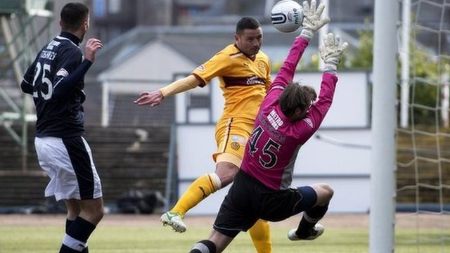 Michael Higdon scores for Motherwell against Dundee