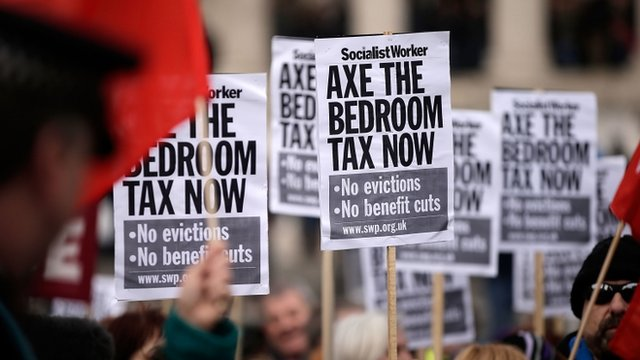 People with placards saying 'Axe the bedroom tax now'