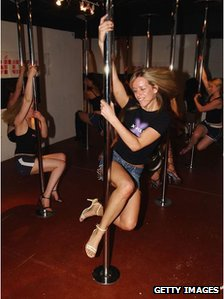 Pole dancers in London