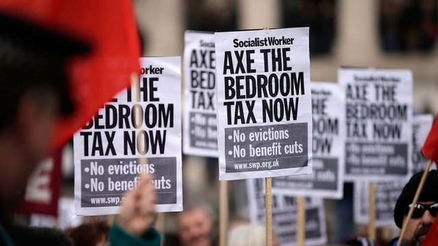 Protest against the UK government's bedroom tax