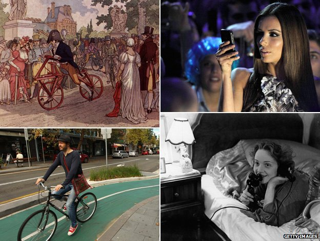 Early bicycle and modern version; Eva Longoria with smartphone and Marlene Dietrich making a call